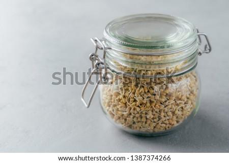Glas jar grijs vegetarisch schotel organisch Stockfoto © vkstudio