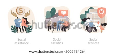Caregiving and welfare services abstract concept vector illustrations. Stock photo © RAStudio