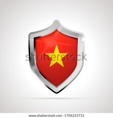 Vietnam zászló fényes pajzs fehér izolált Stock fotó © evgeny89
