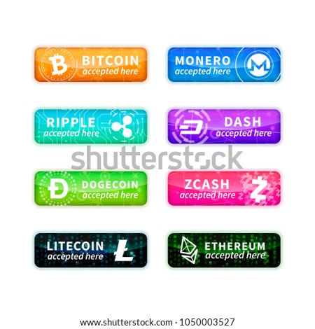 Cryptocurrency accepted here, large set of glossy emblems with most common currency signs on white Stock photo © evgeny89