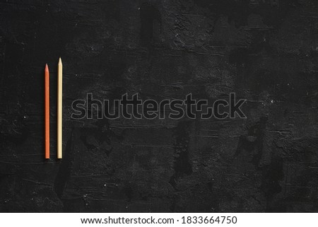 Black school blackboard in wooden frame with lots of chalk math calculations and sponge on shelf on  Stock photo © evgeny89