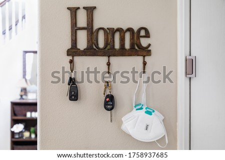Home Key Hanger Rack Next to Door With Keys and Medical Face Mas Stock photo © feverpitch