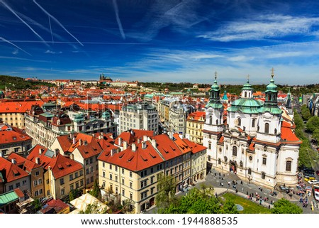 View of Stare Mesto Square Old City Square and St. Nicholas Church from Town Hall Stock photo © dmitry_rukhlenko