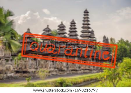 Quarantine due to coronavirus epidemic covid19 Balinese construction in the temple of Tanah Lot Stock photo © galitskaya