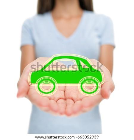 Green car insurance woman showing open hands. Eco friendly environment electric hybrid auto insuranc Stock photo © Maridav