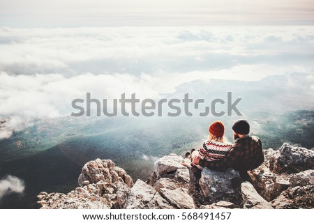 Hiking couple wanderlust adventure and travel concept with hikers relaxing looking at view. Hiking c Stock photo © Maridav