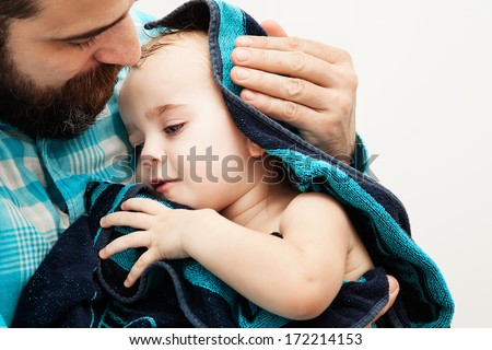 Father with Baby, Dad Bathing Kid Parenting Man Stock photo © robuart