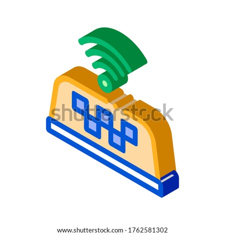 Presence of Wi-Fi in Taxi Online isometric icon vector illustration Stock photo © pikepicture