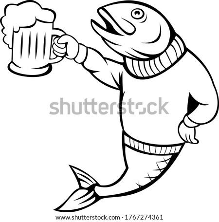 форель лосося рыбы пива кружка Сток-фото © patrimonio