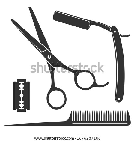 Barbershop scissors and razor blades, hair and cuts, old vintage poster, sticker, banner, logo Stock photo © robuart