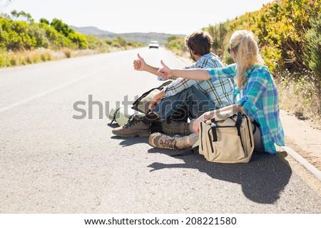 Joli randonneur fille femme voiture printemps Photo stock © cardmaverick2