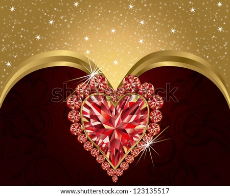 Valentines day elegant postcard  with ruby heart , vector illustration Stock photo © carodi