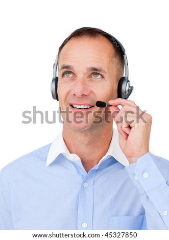 empresario · teléfono · mirando · blanco · tecnología · teléfono - foto stock © wavebreak_media