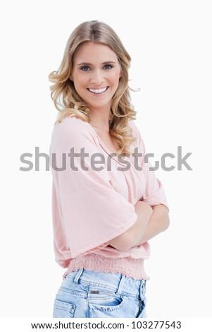 Yandan görünüş atış kadın silah katlanmış gülen Stok fotoğraf © wavebreak_media