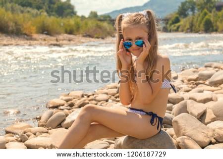 Szexi gyönyörű szőke bikini tengerparti homok fiatal Stock fotó © stryjek