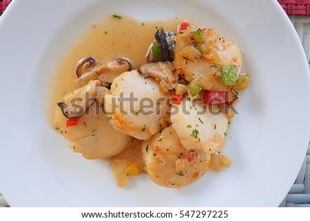 seared scallop with mushroom Stock photo © M-studio