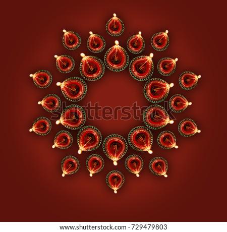 Beautiful illuminating oil lamp diwali background design illustr Stock photo © bharat