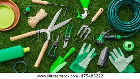 Kerti eszközök szerszámok növény kötél mezőgazdaság edény Stock fotó © susabell