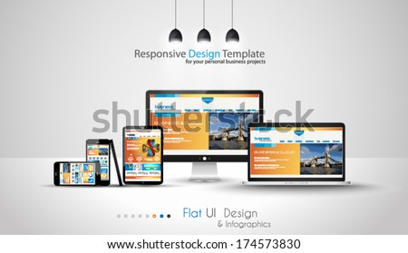 Stock photo: Modern devices mockups fpr your business projects. webtemplates included.