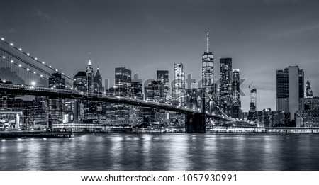 Skyline Manhattan from Brooklyn Bridge Stock photo © Hofmeester