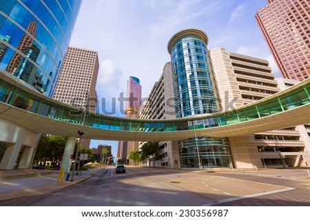 houston cityscape bell and smith st in texas us stock photo © lunamarina