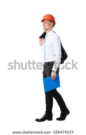 pensive businessman in helmet with blue folder over white background stock photo © deandrobot