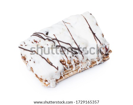 single chocolate cream filled biscuit over white stock photo © lucielang