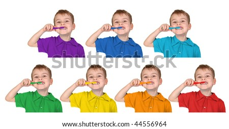 boys in iridescent sports shirts show with the toothbrush , coll Stock photo © Paha_L