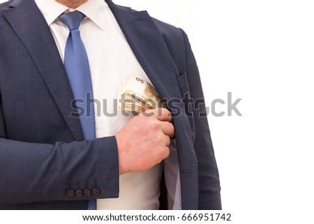 money in pocket businessman putting euro banknotes in suit pock stock photo © stevanovicigor