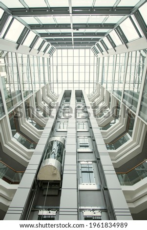 modern architectural feature round staircase and glass roof stock photo © stevanovicigor