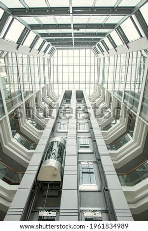 Modern építészeti tulajdonság lépcsőház üveg tető Stock fotó © stevanovicigor