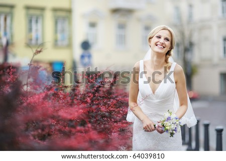 beautiful smiling bride wedding portrait with curly hair style stock photo © victoria_andreas