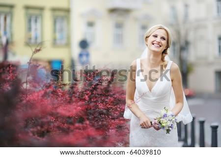 bruiloft · stijl · verloofde · brunette · witte · jurk · portret - stockfoto © victoria_andreas