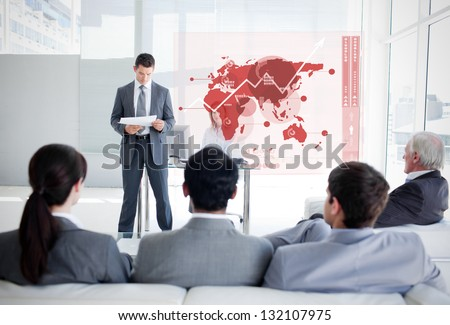 young businesswoman presenting the  screen of a futuristic trans Stock photo © feedough