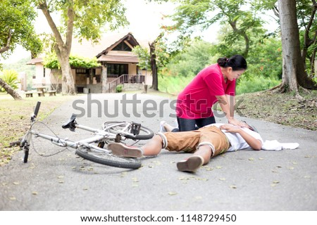 Paramedic training cardiopulmonary resuscitation to senior man Stock photo © wavebreak_media