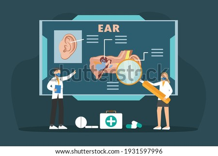 doctor examining patient ear by using magnifying glass stock photo © wavebreak_media