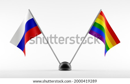 Russia LGBT flag. Russian Symbol of tolerant. Gay sign rainbow Stock photo © popaukropa
