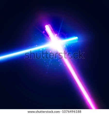 neon light swords crossed light sabers flash and sparkles vector illustration isolated on transpa stock photo © olehsvetiukha