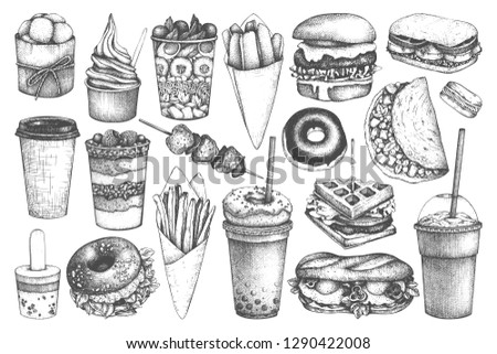 A set of delicious desserts and festive food. Sketch for holiday stickers, cards or party invitation Stock photo © Lady-Luck