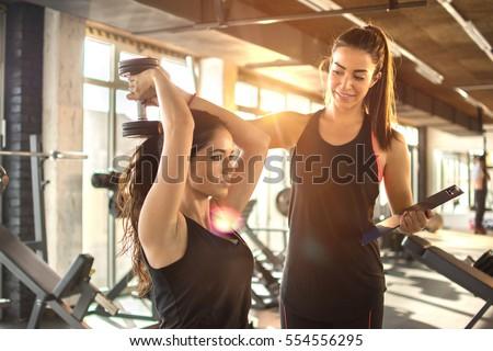 egzersiz · personal · trainer · dışında · genç · kadın · sabah - stok fotoğraf © boggy