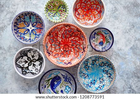 Collection of empty moroccan colorful decorative ceramic bowls Stock photo © dash