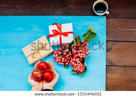 ギフト クリスマス 果物 ナッツ 女性 手 ストックフォト © dmitriisimakov