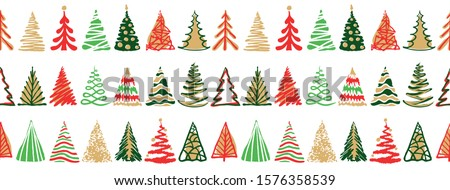 Silhouette of a stroke Christmas tree green color isolated on golden color background. Sample of the Stock photo © Lady-Luck