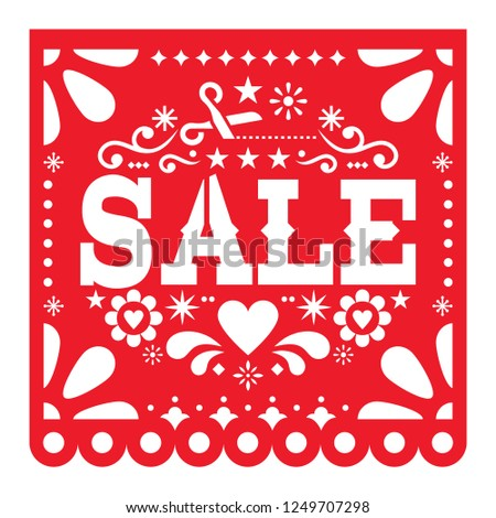 mexican papel picado sale cutout vector design red paper decoration from mexico with flowers and stock photo © redkoala