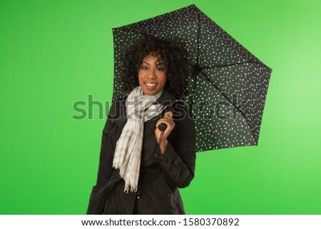 Sevimli kadın eşarp şemsiye Stok fotoğraf © deandrobot