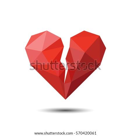 Broken red heart shape isolated on light background. Mosaic love symbol design element Stock photo © ESSL