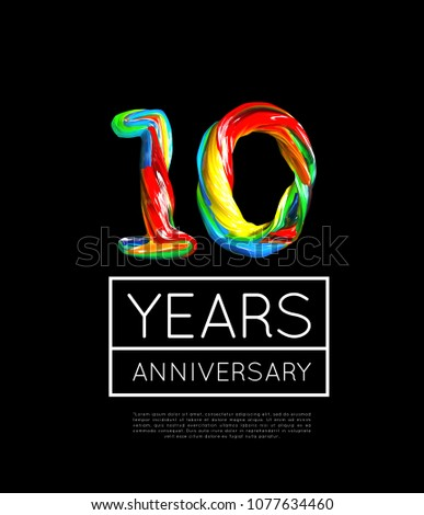 10th Anniversary, congratulation for company or person on yellow background. Vector Stock photo © m_pavlov