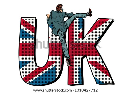 businessman overcomes the border uk word flag isolate on white background stock photo © studiostoks