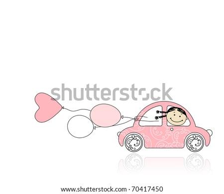 rózsaszín · női · autó · terv · retro · kicsi - stock fotó © bonnie_cocos