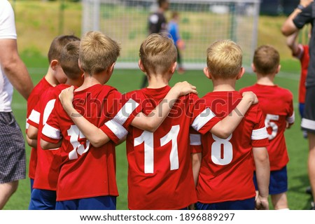 Kids Soccer Football Team Huddle. Children Play Sports Game. Chi Stock photo © matimix